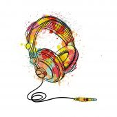 Colourful Music Headphones Black Framed Wall Art Print