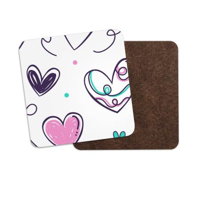 Doodle Love Hearts One Square Coaster