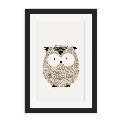Cute Owl Sketch Black Framed Wall Art Print