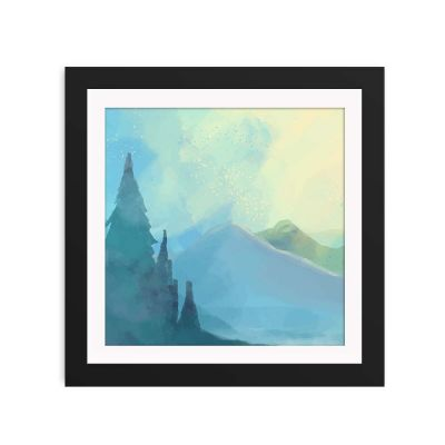 Blue Mountain Mist Black Framed Wall Art Print