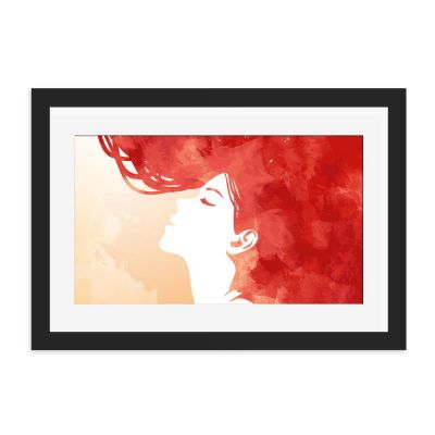 Red Head Watercolour Black Framed Wall Art Print
