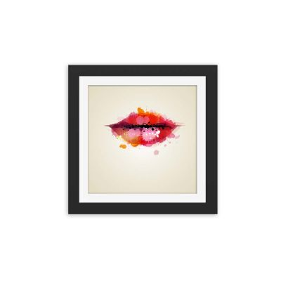 Watercolour Kiss Black Framed Wall Art Print