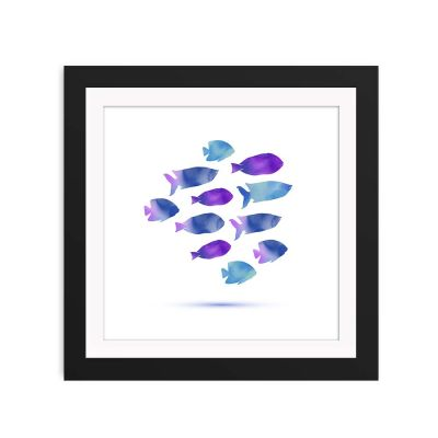 Abstract Watercolour Fish Black Framed Wall Art Print