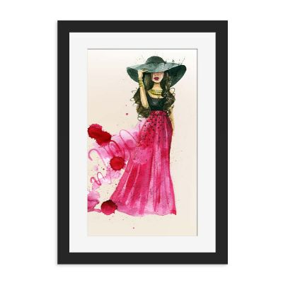 Watercolour Lady Black Framed Wall Art Print