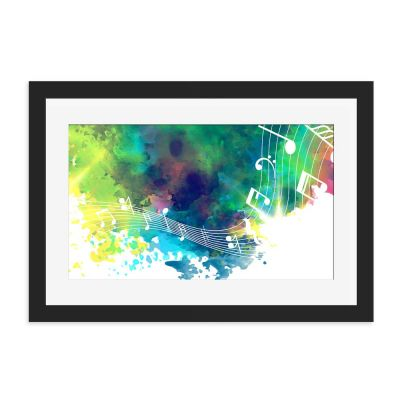 Music Festival Black Framed Wall Art Print