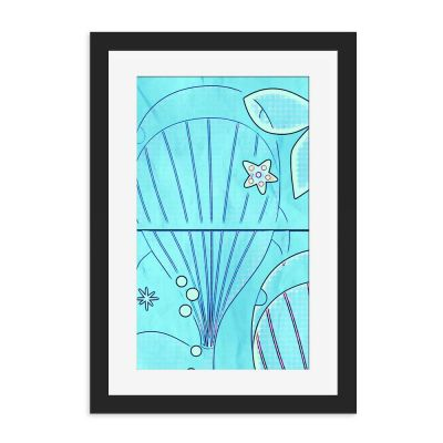 Light Blue Whale Black Framed Wall Art Print