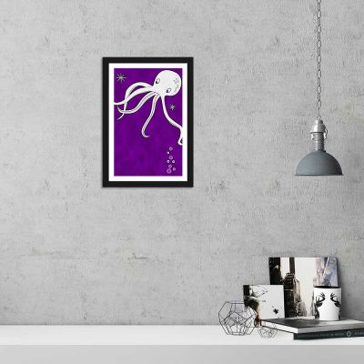 Purple Sea Octopus Framed Wall Art Poster