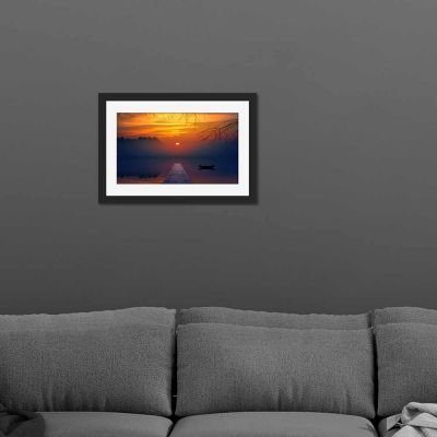 Golden Lake Black Framed Wall Art Print