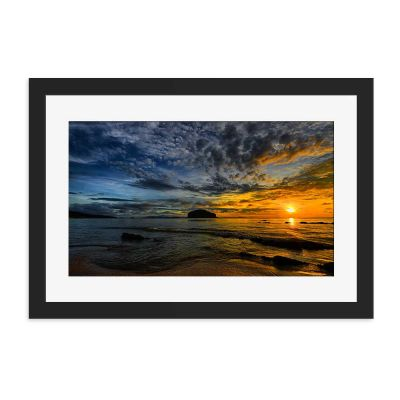 Golden Storm Black Framed Wall Art Print