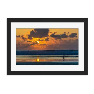 Sunset Walk Black Framed Wall Art Print