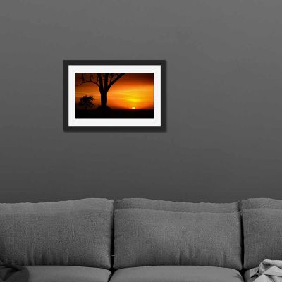 Tree Silhouette Black Framed Wall Art Print