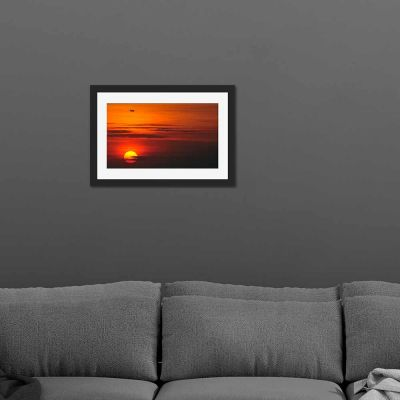 Plane Sunset Black Framed Wall Art Print