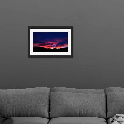 Purple Pink Sky Black Framed Wall Art Print