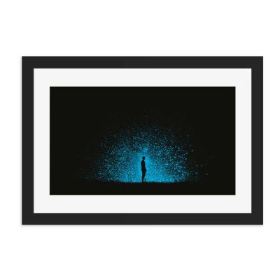 Blue Explosion Black Framed Wall Art Print
