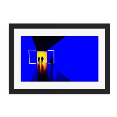 Blue Box Black Framed Wall Art Print