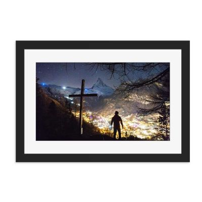 Bright Village Lights Black Framed Wall Art Print