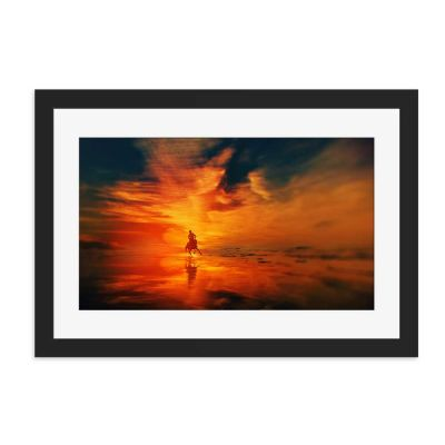 Horseback Sunset Black Framed Wall Art Print