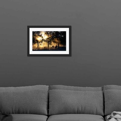 Horseback Forrest Black Framed Wall Art Print