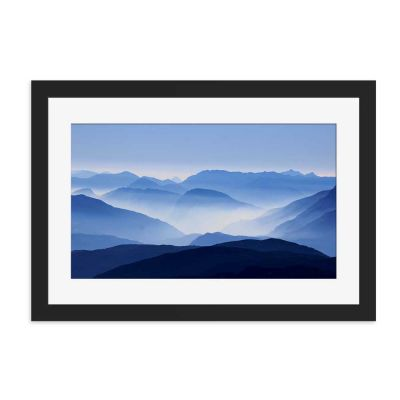 Blue Mountain Haze Black Framed Wall Art Print