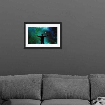 Green Universe Black Framed Wall Art Print