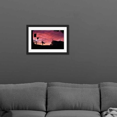 Sunrise Surfer Black Framed Wall Art Print