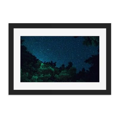 Forrest Night Sky Black Framed Wall Art Print