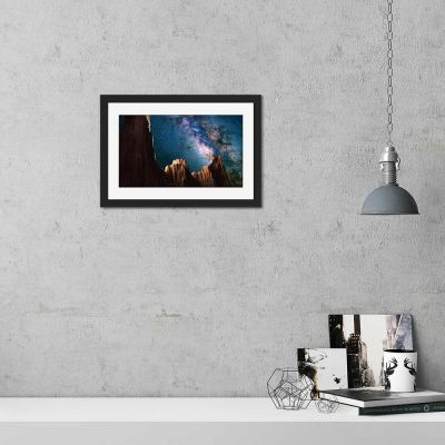 Red Rock Night Sky Black Framed Wall Art Print