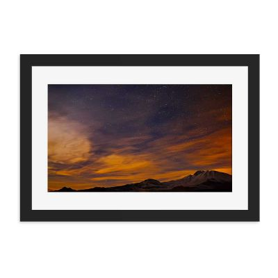 Purple Orange Night Sky Black Framed Wall Art Print