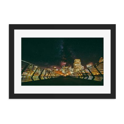 Bridge Lights Black Framed Wall Art Print