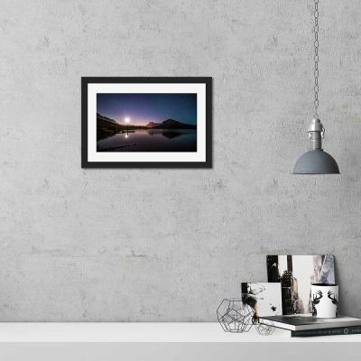 Lakeside Night Sky Black Framed Wall Art Print