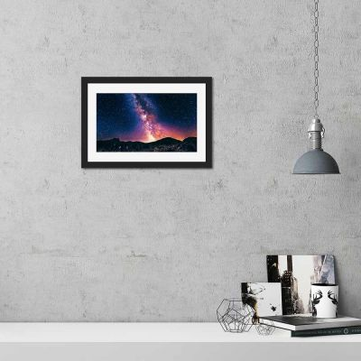 Backlit Mountains Black Framed Wall Art Print