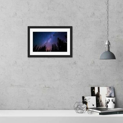 Purple Forrest Night Sky Black Framed Wall Art Print
