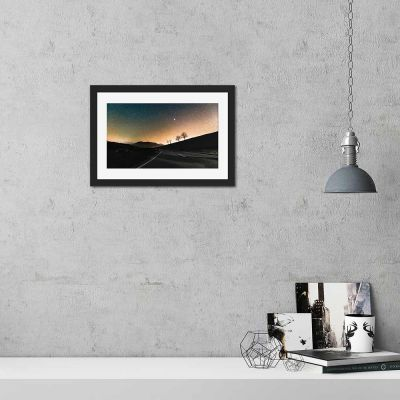 Long Road Night Sky Black Framed Wall Art Print