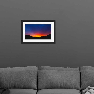 Mountain Range Silhouette Black Framed Wall Art Print