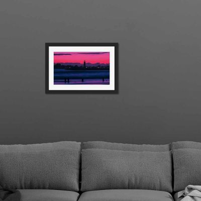 Lighthouse Silhouette Black Framed Wall Art Print