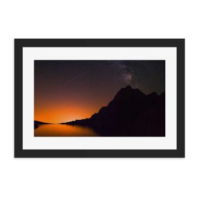 Orange Night Black Framed Wall Art Print