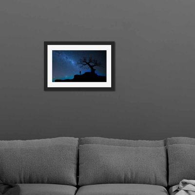 Blue Starlight Tree Silhouette Black Framed Wall Art Print