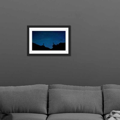 Blue Starlight Silhouette Black Framed Wall Art Print