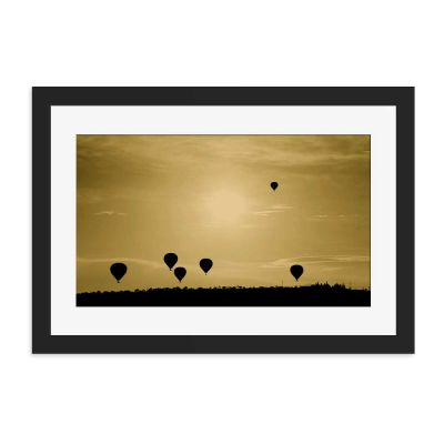 Hot Air Balloons Silhouette Black Framed Wall Art Print