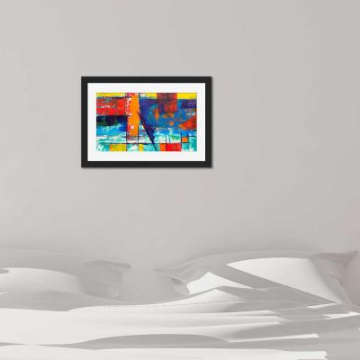 Abstract Summer Black Framed Wall Art Print