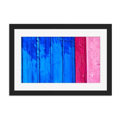 Blue Door Black Framed Wall Art Print