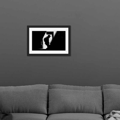Journey Black And White Black Framed Wall Art Print
