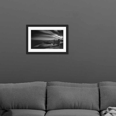 Beach Black And White Black Framed Wall Art Print