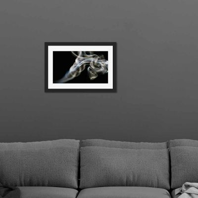Smoke Black And White Black Framed Wall Art Print