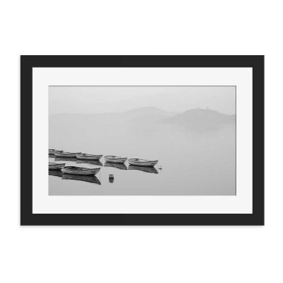 Rowing Boats Black And White Black Framed Wall Art Print