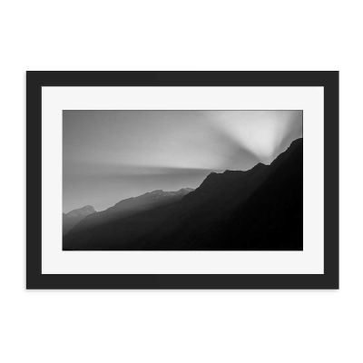 Mountain Range Black And White Black Framed Wall Art Print