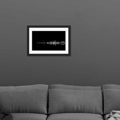 Harbour Black And White Black Framed Wall Art Print
