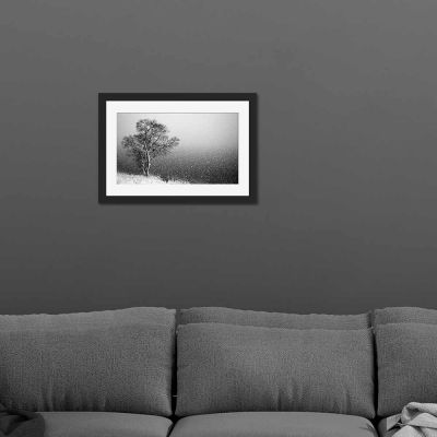 Winter Storm Black And White Black Framed Wall Art Print