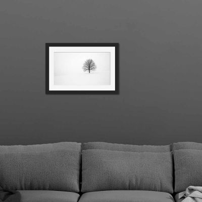 Tree Black And White Black Framed Wall Art Print