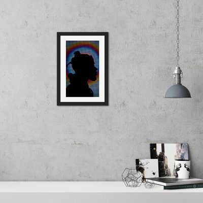 Bright Lights Silhouette Black Framed Wall Art Print